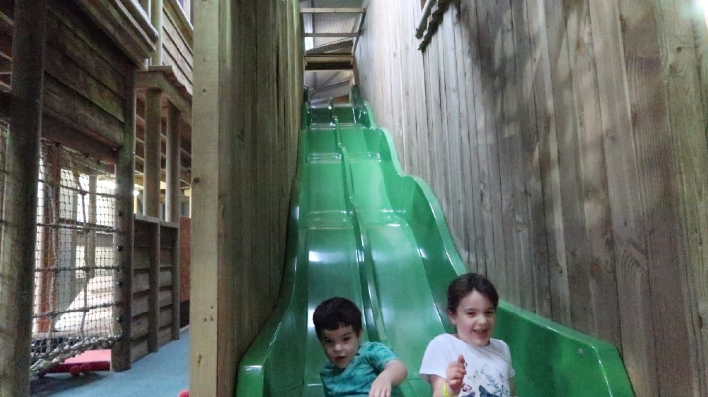 children on wavy slide aMaizin! adventure park jersey
