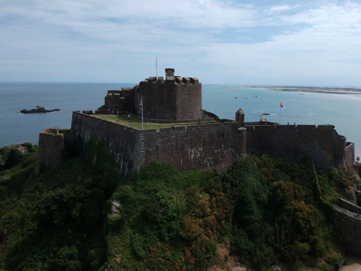 drone image Mont Orgueil Castle looking out to sea