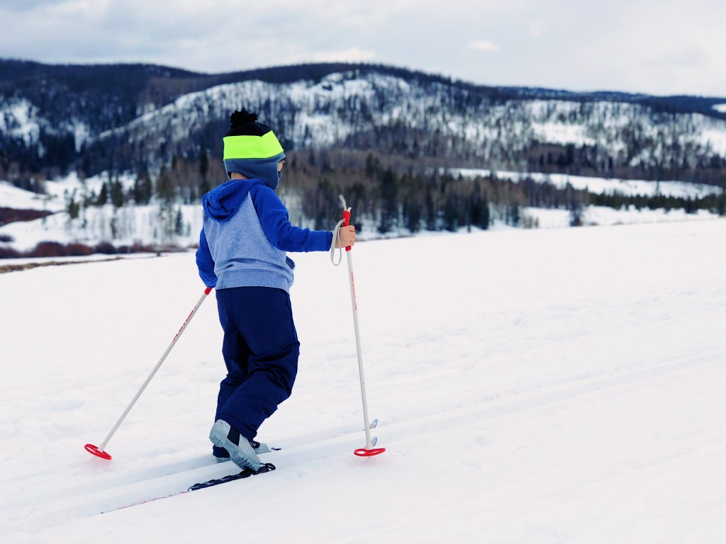 small child skiing in mountains