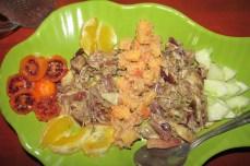 Banana Leaf Salad and Papaya in a peanut sauce