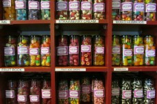 Sweets galore in the old fashioned candy store on the High Street.