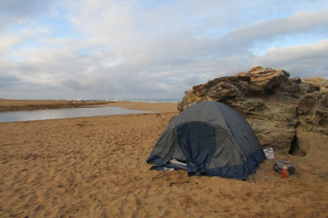 Our little camp on the beach, Great Ocean Road