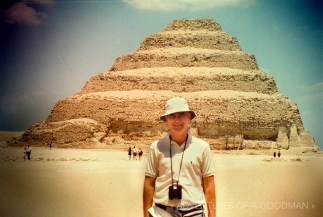 My father, Daniel Goodman, standing in front of one of the pyramids in Giza, Egypt