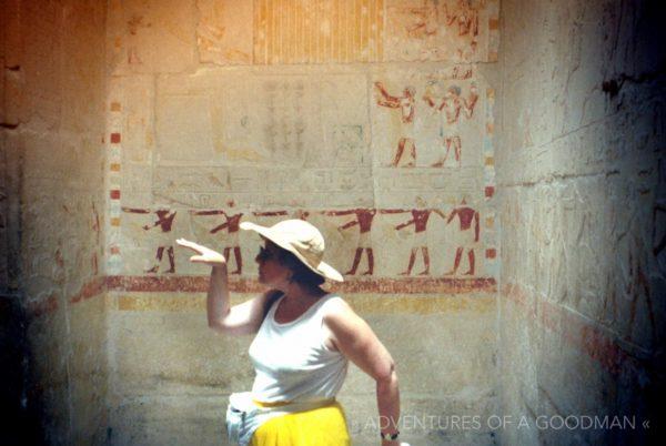 My Mom, Bonnie Worthman Goodman, does her best Bangles impression and Walks Like an Egyptian