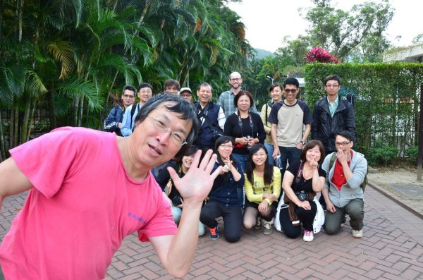 A group shot during the field trip. RuRu and Karbo are the two women located directly to the right of Professor Yang's hand