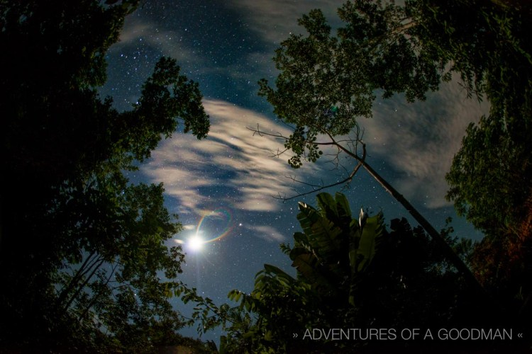 A moon rainbow above the canopy of the Amazon Rainforest in Iquitos, Peru