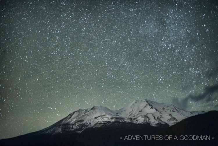 A starry night above Mount Shasta