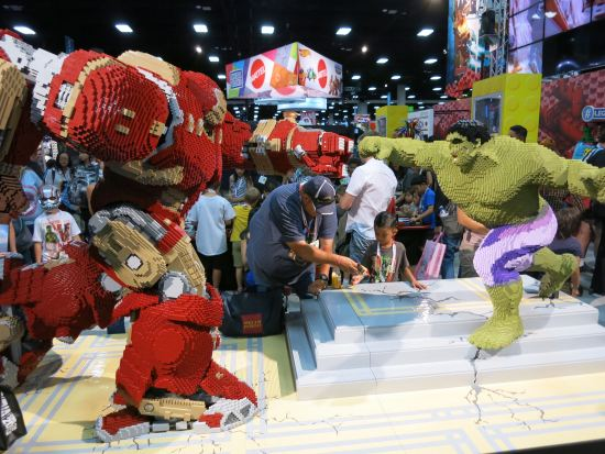 The Lego booth created a fantastic Hulkbuster.