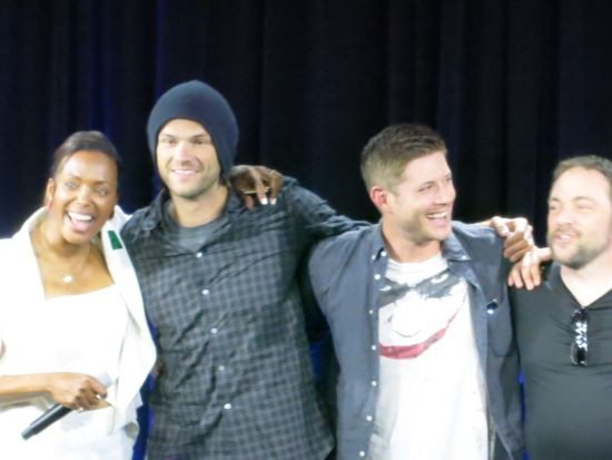 Another pic from the photo opp. Love Jensen's shirt.