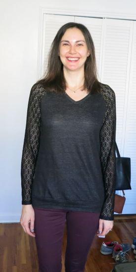 Loveappella Nerbi Long Sleeve Lace Keyhole Back Knit Top - Stitch Fix
