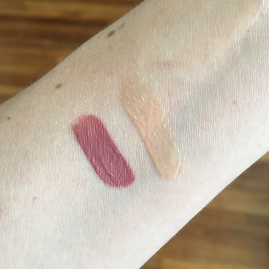 Swatches: NARS Velvet Lip Glide in Bound, Too Faced Lip Injection Glossy in Milkshake