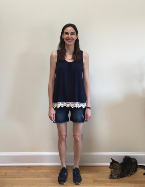 Papermoon Lonni Crochet Back Knit Tank & Liverpool Jade Distressed Frayed Hem Denim Short | Stitch Fix