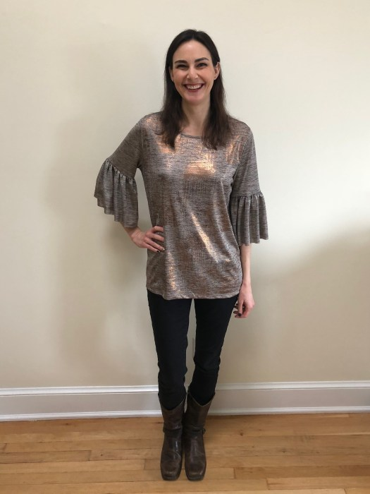 Dantelle Hanna Metallic Bell Sleeve Knit Top | Stitch Fix