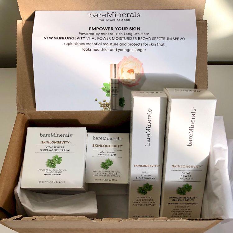 Skinlongevity PR box from bareMinerals