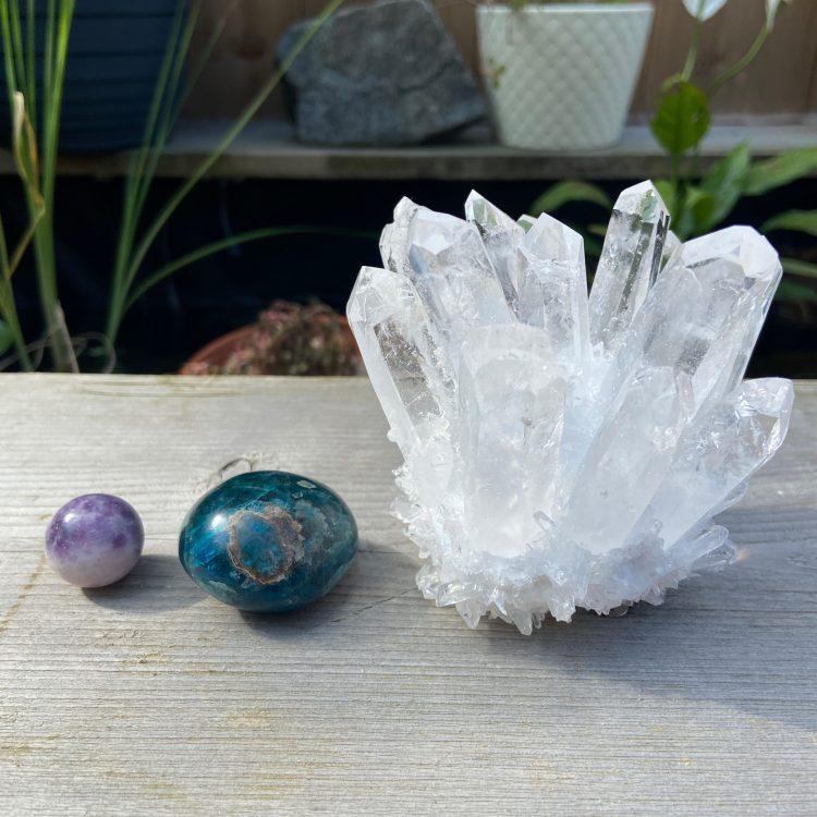 Three flea market crystals