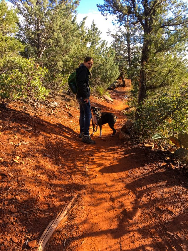 Dogs are allowed on the trail as long as they are on a leash and you clean up after them.