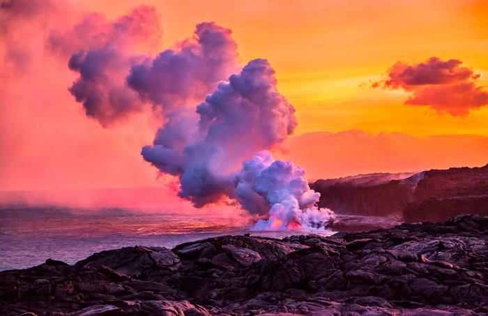 Volcano Lava into Ocean