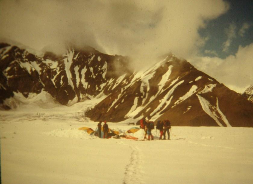 A glacier camp on the Ruth Glacier in Alaska.