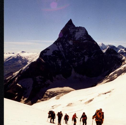 Crossing a glacier near Switzerland's Matterhorn