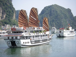 Departing the port in Halong Bay