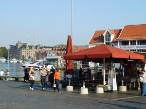 Bergen's fish market area, along the wharf