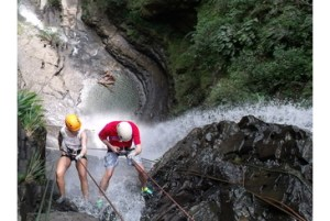 Rappelling Down a Waterfall Colombia