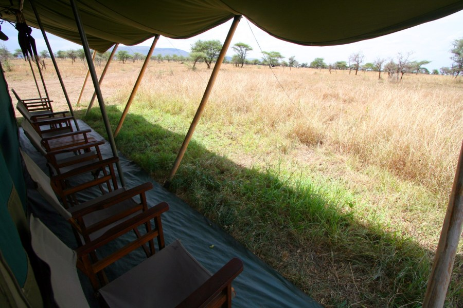 The lounge tent offers great views of the Serengeti.