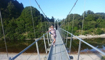 Crossing the swing bridge after Lewis Hut