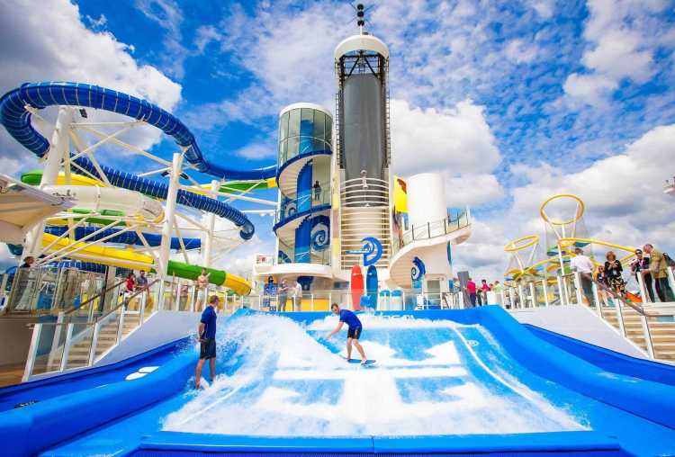 Cruise vacation water park fun at sea onboard a Royal Caribbean cruise ship