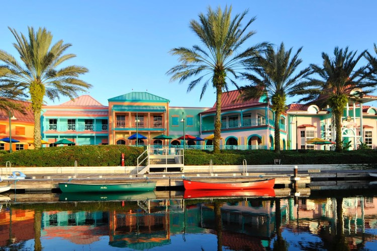 Colorful buildings at Disney's Caribbean Beach Resort