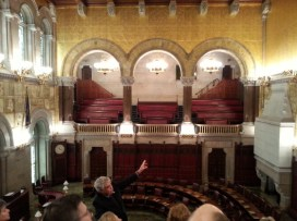 That's the tour guide, Jack pointing out incomplete portions of the Senate Chamber. This room also was designed by Richardson and the walls are covered in 23 carat gold leaf.