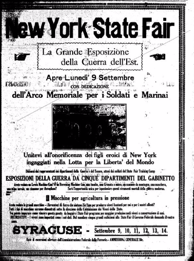 Another advertisement for the Fair from La Gazzetta di Syracuse, an Italian newspaper from 1918.