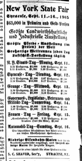 Advertisement for the State Fair from the Syracuse Union, a German newspaper that was printed from 1866 to 1941.
