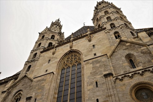 View of the Heidentuerme, which are part of the oldest section of the Cathedral.