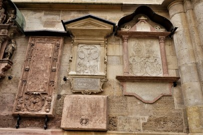 These memorial slabs are located to the left of the Giant's Gate.