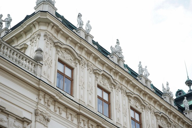 A close-up of the exterior of the Upper Belvedere.