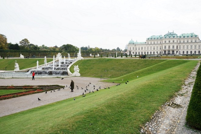A view of the Upper Belvedere from the gardens between the Upper and Lower Buildings. You're probably wondering, is that woman feeding the birds? She is, they were following here around because she had a loaf of bread.