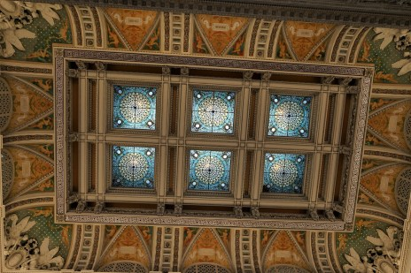 This is a view of the stained glass ceiling that is roughly 75 feet above the main lobby.