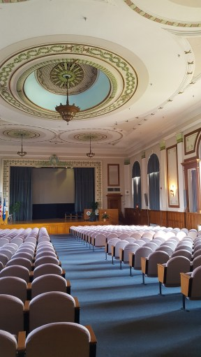 The auditorium is located on the second floor of St. Vincent's Hall. It can seat over 400 people.