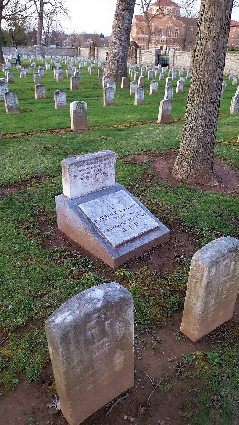 This is the original gravestone for Mother Seton, the stones in front of her are for her family members that traveled to Emmitsburg with her.