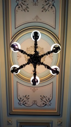 This view is of the ceiling seen upon entering the Crocker Mansion through the front doors.