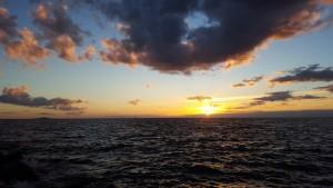 Solnedgång över Oskarshamns kärnkraftverk