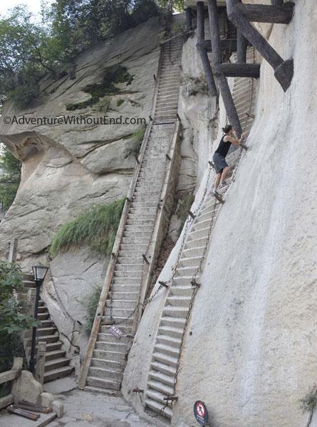 Tony climbing Hua Shan Stairs
