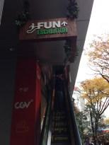 "Heading up the ""fun"" escalator."