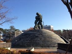 The Statue of Brothers - depicts a real-life story of two brothers who fought in the Korean War on opposite sides and accidentally reunited on the battlefield. Symbolizes Koreans' wish for national peace and reunification.