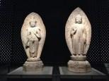 Stone Maitreya Bodhisattva (left) and Stone Amitabha Buddha (right) from Gamsansa Temple Site - 719