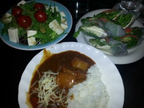 Salad, Spring rolls, Curry