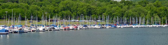Sailboats docked at Nockamixon State Park