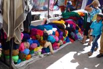 Colorful yarns for sale at the Otavalo market.