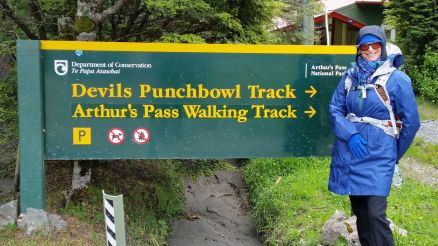 Getting ready to hike to the Devil's Punchbowl at Arthur's Pass